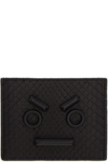 Fendi - Black Python 'Fendi Faces' Card Holder