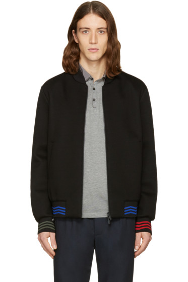 Fendi - Black Zig Zag Bomber Jacket