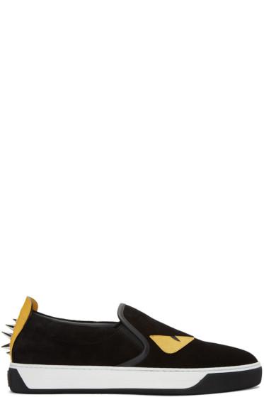 Fendi - Black Suede 'Bag Bug' Sneakers