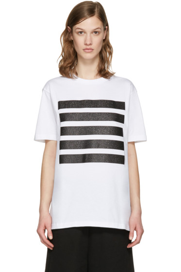 Palm Angels - White Glitter Five Stripes T-Shirt