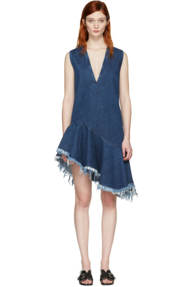 Marques Almeida - Blue Denim V-Neck Dress
