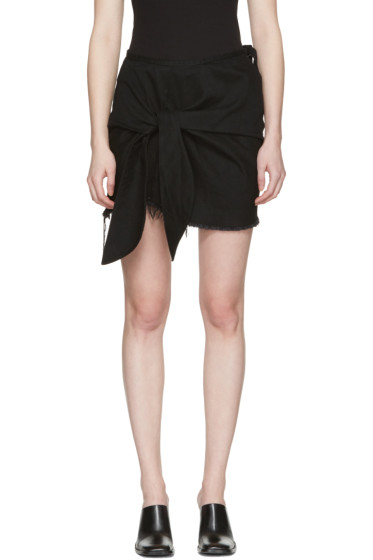 Marques Almeida - Black Denim Knotted Miniskirt