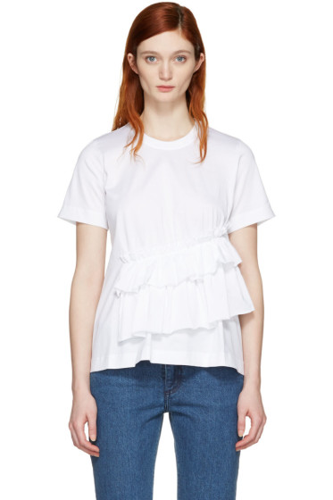 Marques Almeida - White Gathered T-Shirt