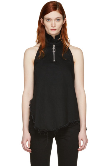 Marques Almeida - Black Denim Halterneck Top