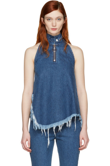 Marques Almeida - Blue Denim Halterneck Top