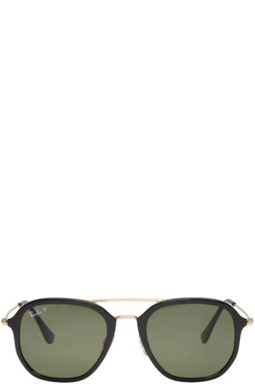 Ray-Ban - Black & Gold Aviator Sunglasses