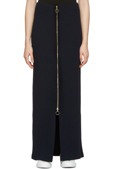 Atea Oceanie - Navy Long Ribbed Skirt