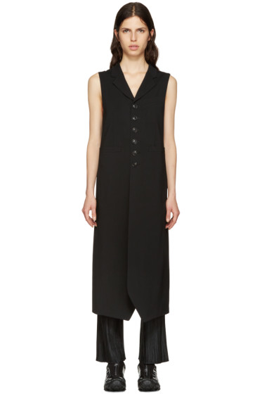Y's - Black Long Wool Vest
