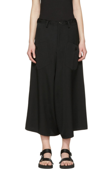 Y's - Black Wide-Leg Cargo Trousers