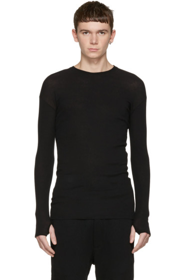 Isabel Benenato - Black Ribbed Pullover