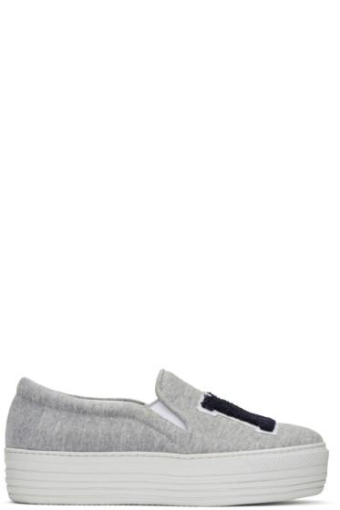 Joshua Sanders - Grey 'NY' Double Slip-On Sneakers