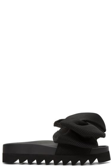 Joshua Sanders - Black Bow Slide Sandals