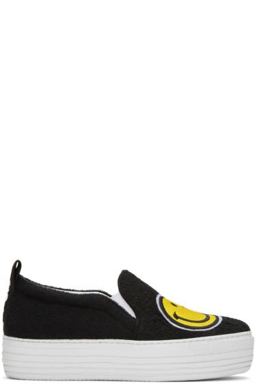 Joshua Sanders - Black Smile Double Slip-On Sneakers