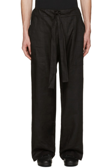 Phoebe English - Black Linen Tie Front Trousers