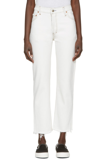 Re/Done - White High-Rise Straight Crop Jeans