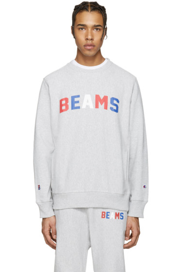 Champion x Beams - Grey Logo Pullover