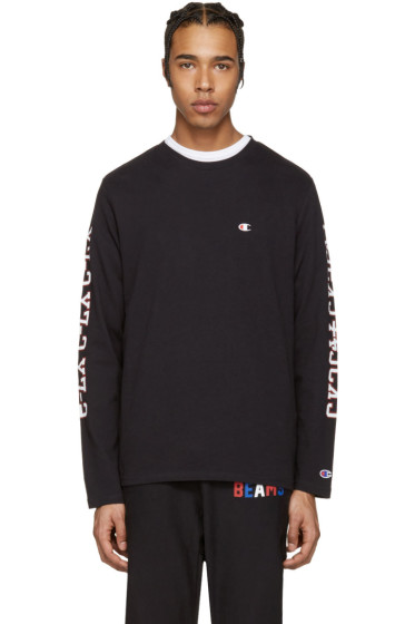 Champion x Beams - Black Printed Sleeve Logo Pullover