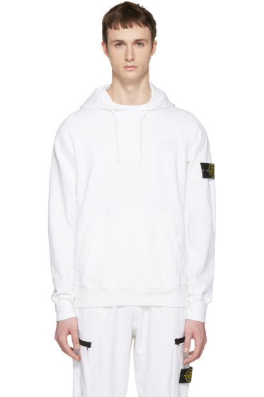 Stone Island - White Arm Patch Hoodie