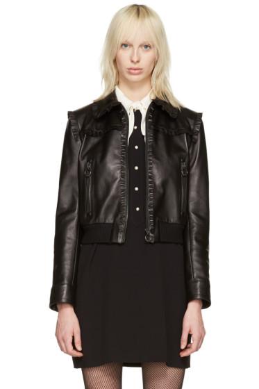 Miu Miu - Black Leather Ruffle Jacket