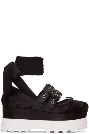 Miu Miu - Black Double Buckle Platform Ballerinas