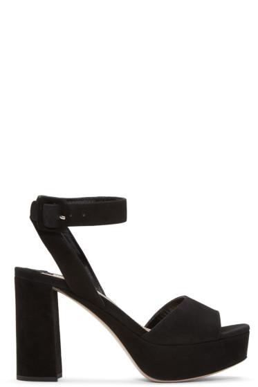 Miu Miu - Black Suede Platform Sandals