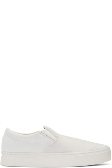 Saturdays NYC - Ivory & Grey Vass Slip-On Sneakers