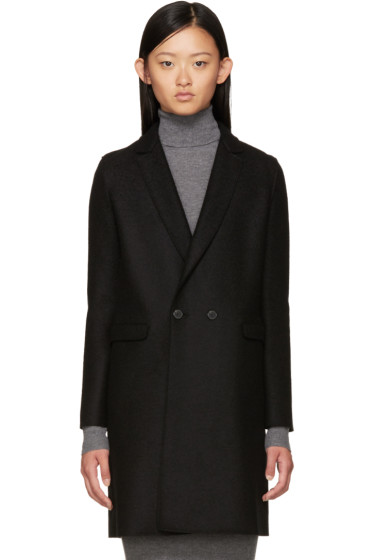 Harris Wharf London - Black Wool Double-Breasted Coat