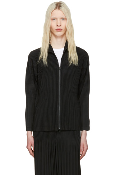 Homme Plissé Issey Miyake - Black Pleated Zip-Up Sweater