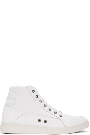 Diesel - White Croc-Embossed S-Groove High-Top Sneakers