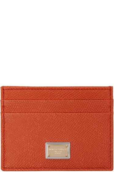 Dolce & Gabbana - Orange Leather Card Holder