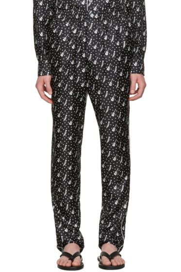 Dolce & Gabbana - Black Silk Music Pajama Trousers
