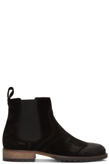Belstaff - Black Burnished Suede Lancaster Chelsea Boots