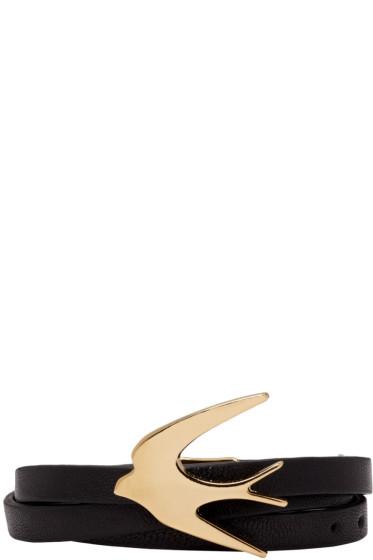 McQ Alexander Mcqueen - Black Swallow Triple Wrap Bracelet