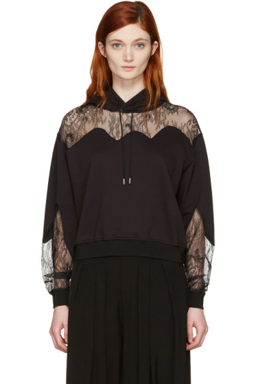 McQ Alexander Mcqueen - Black Lace-Trimmed Hoodie