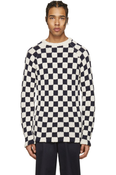 Acne Studios - Off-White & Navy Korus Check Sweater
