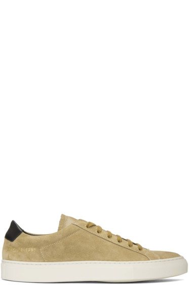 Common Projects - Tan Suede Achilles Retro Low Sneakers