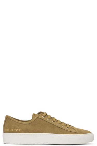 Common Projects - Tan Suede Tournament Low Sneakers
