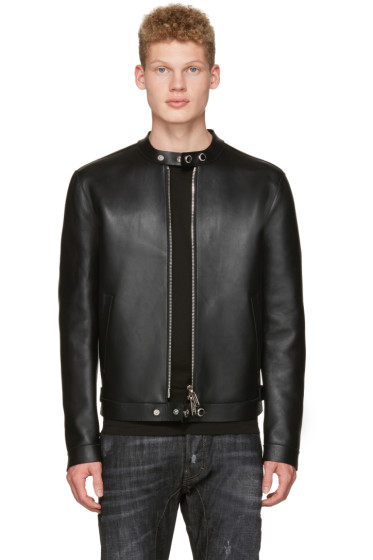 Dsquared2 - Black Bonded Leather Biker Jacket