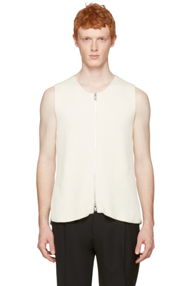 Maison Margiela - Off-White Rib Knit Zip Vest