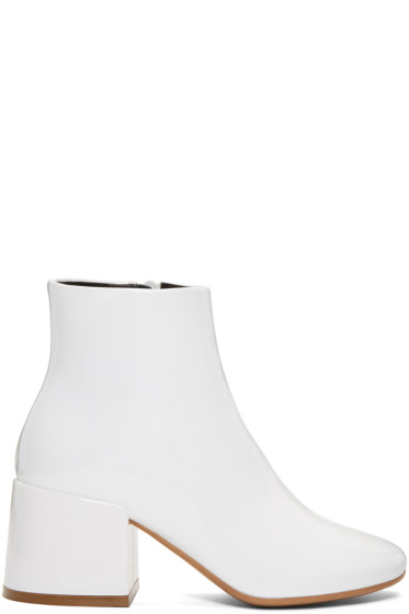 MM6 Maison Margiela - White Patent Cube Heel Boots