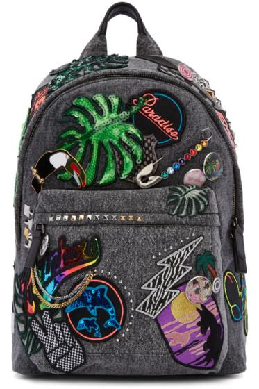 Marc Jacobs - Grey Denim Paradise Biker Backpack