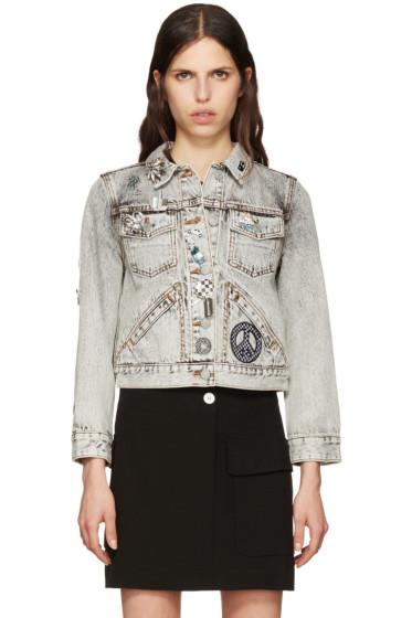 Marc Jacobs - Ecru Denim Embroidered Shrunken Jacket