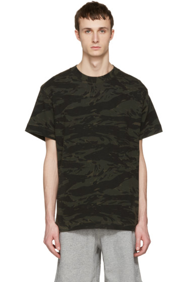 T by Alexander Wang - Green Camouflage Back Panel T-Shirt