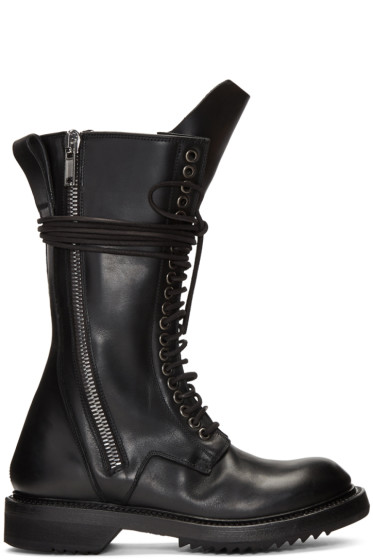Rick Owens - Black Double Zip Lace-Up Boots