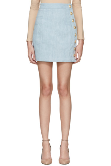 Balmain - Blue Denim Side Buttons Miniskirt