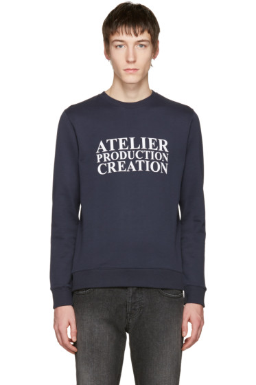 A.P.C. - Navy 'Atelier Production Creation' Logo Pullover