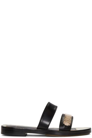 Lanvin - Black Double Stripe Chain Sandals