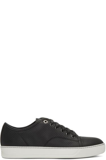 Lanvin - Black Perforated Low-Top Sneakers