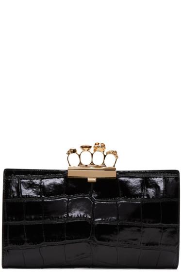 Alexander McQueen - Black Croc-Embossed Knuckle Clutch