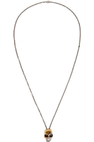 Alexander McQueen - Silver & Gold Divided Skull Necklace
